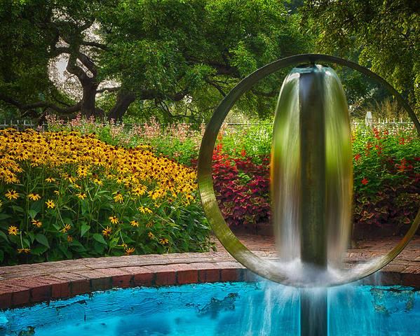 Prescott Park Poster featuring the photograph Round Water Sculpture Prescott Park Garden by Jeff Sinon
