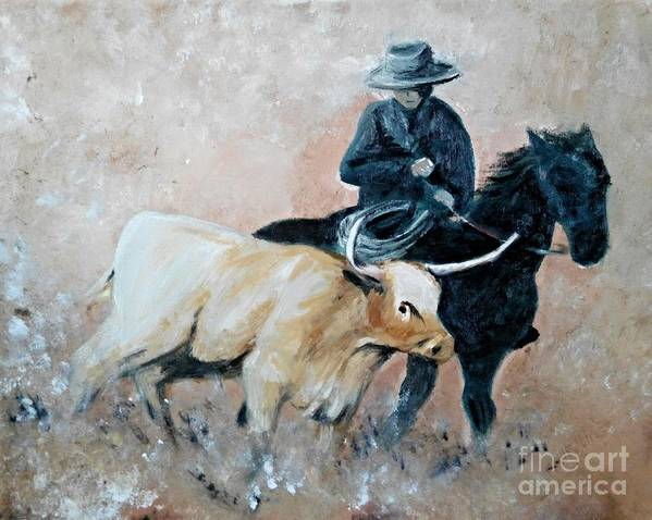 Cowboy Poster featuring the painting Roundup by Isabella F Abbie Shores
