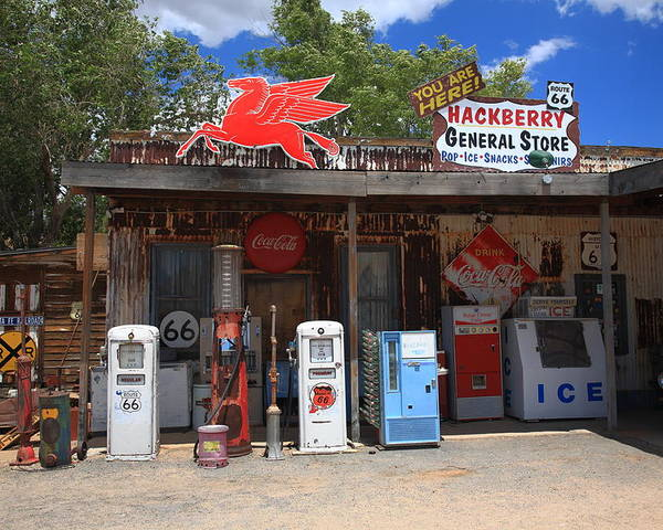 66 Poster featuring the photograph Route 66 - Hackberry General Store by Frank Romeo