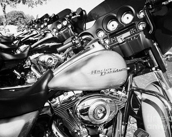 Harley-davidson Poster featuring the photograph Row Of Harley Davidson Street Glide Motorbikes Outside Motorcycle Dealership Orlando Florida Usa by Joe Fox
