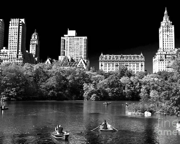 Rowing In Central Park Poster featuring the photograph Rowing In Central Park by John Rizzuto
