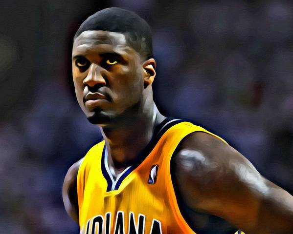 Nba Poster featuring the painting Roy Hibbert Portrait by Florian Rodarte