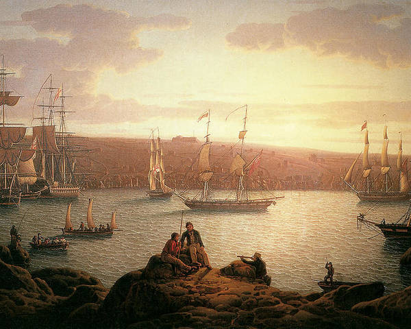 Robert Salmon Poster featuring the painting Royal Naval Vessels Off Pembroke Dock Hilford Haven by Robert Salmon
