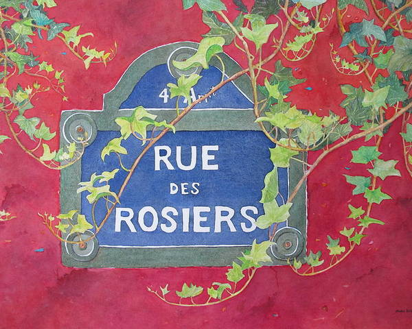 Red Wall Poster featuring the painting Rue Des Rosiers In Paris by Mary Ellen Mueller Legault