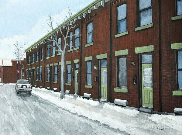 Pointe St. Charles Poster featuring the painting Rue Grand Trunk Pointe St. Charles by Reb Frost