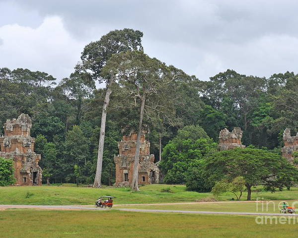 Angkor Poster featuring the photograph Ruins And Tourists At Angkor Wat by Sami Sarkis