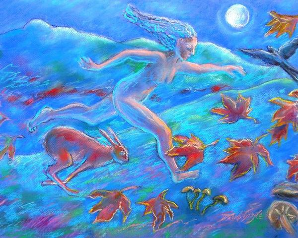 Running Poster featuring the painting Running With The Hare by Trudi Doyle