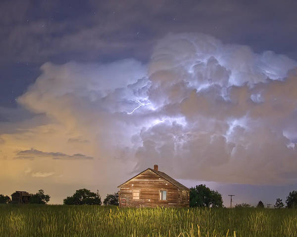 Sky Poster featuring the photograph Rural Country Cabin Lightning Storm by James BO Insogna