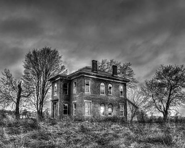 Spooky House Print Poster featuring the photograph Rural Farmhouse by Jon Dickson