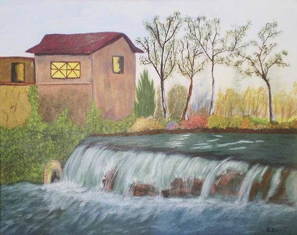 House Sitting Next To A Water Fall Poster featuring the painting Rushing Water by James Ivey