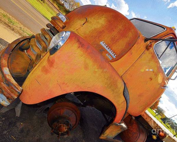 Aged Poster featuring the photograph Rusted Out Chevrolet 5700 by Liane Wright