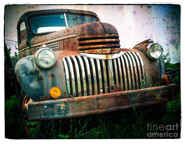 Car Poster featuring the photograph Rusty Old Chevy Pickup by Edward Fielding