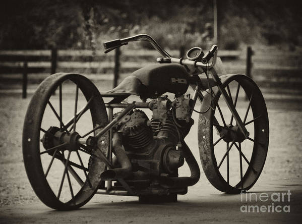 Vintage Motorcycle Poster featuring the photograph Rusty Rims by Wilma Birdwell