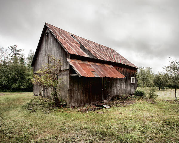 Old Barn Poster featuring the photograph Rusty Tin Roof Barn by Gary Heller