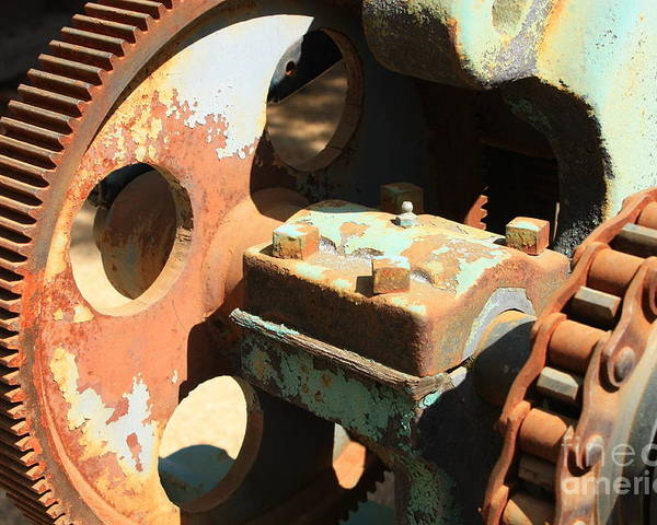 Rust Poster featuring the photograph Rusty Wheel Gear by Carol Groenen