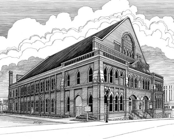 Architecture Poster featuring the drawing Ryman Auditorium In Nashville Tn by Janet King