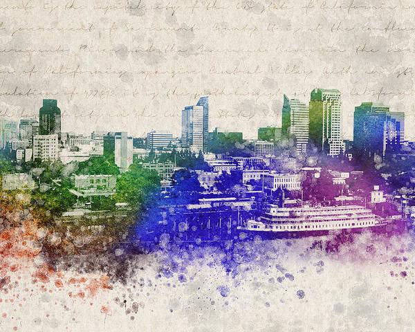 Sacramento Poster featuring the digital art Sacramento City Skyline by Aged Pixel