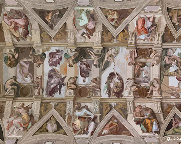 Sistine Chapel Poster featuring the painting Sacred Ceiling by George Pedro