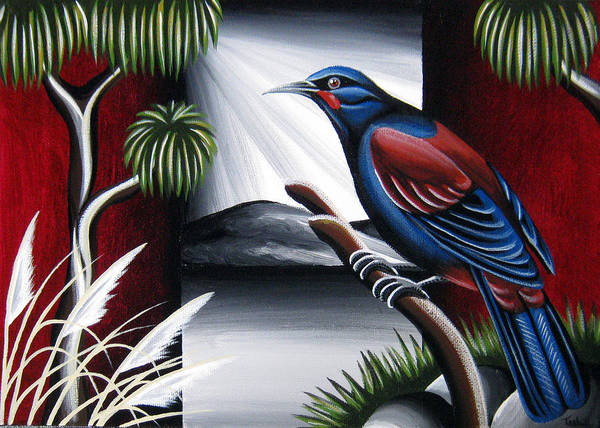 Kiwiana Nz New Zealand Bird Native Nature Wildlife Saddleback Cabbage Tree Toi Toi Poster featuring the painting Saddleback by Natasha Shackleton