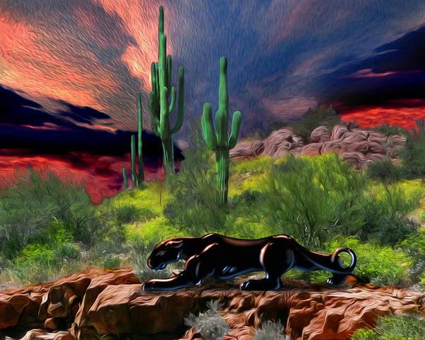 Desert Poster featuring the digital art Saguaro Jaguaro by Timothy Ramos