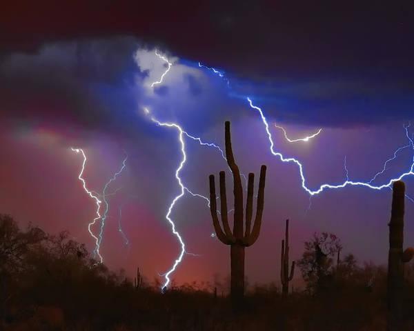 Saguaro Poster featuring the photograph Saguaro Lightning Nature Fine Art Photograph by James BO Insogna