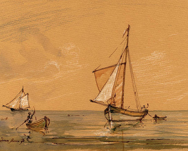 Sail Ship Poster featuring the painting Sail Ship by Juan Bosco