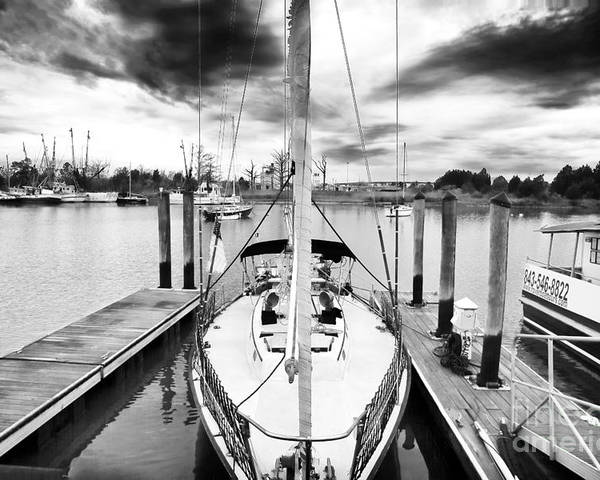 Sailboat Docked Poster featuring the photograph Sailboat Docked by John Rizzuto