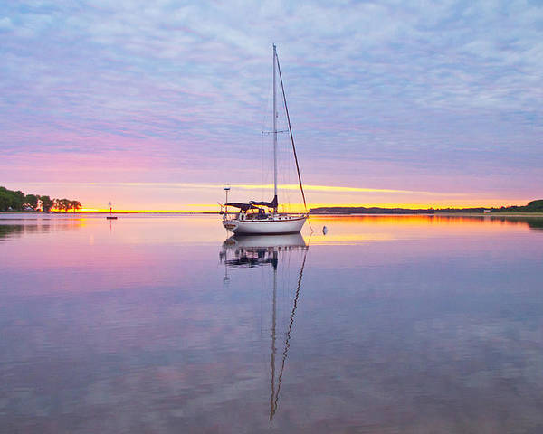 Sailboat Poster featuring the photograph Sailboat Sunrise by Gary McCormick