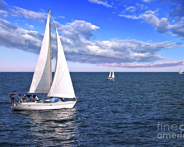 Boat Poster featuring the photograph Sailboats At Sea by Elena Elisseeva