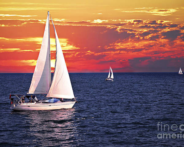 Boat Poster featuring the photograph Sailboats At Sunset by Elena Elisseeva