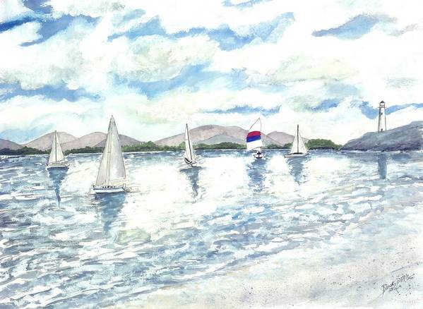 Sailboats Poster featuring the painting Sailboats by Derek Mccrea