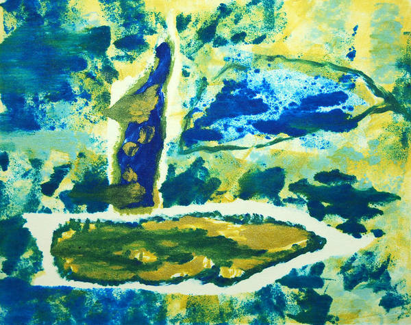 Abstract Poster featuring the painting Sailboats On Charles River by Alexandra Jordankova