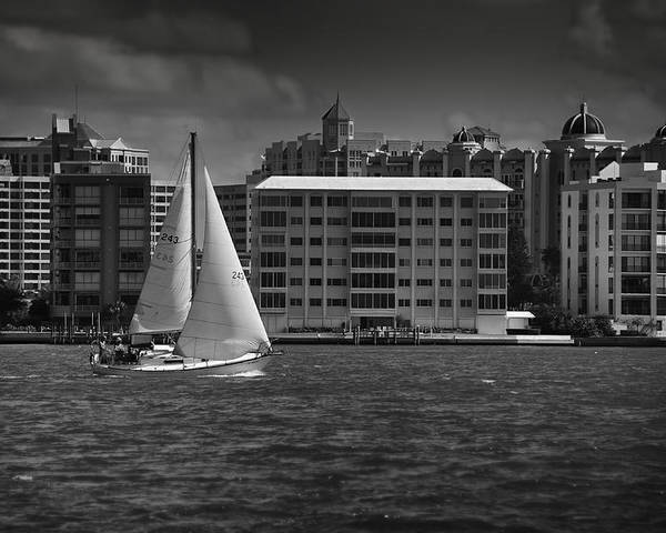 B&w Poster featuring the photograph Sailing Away by Mario Celzner