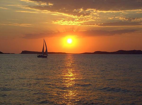 Ibiza Poster featuring the photograph Sailing Boat In Ibiza Sunset by Steve Kearns