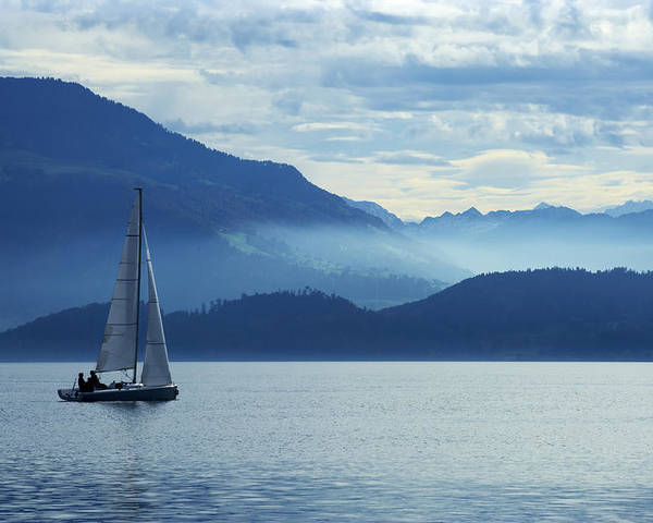 Zug Poster featuring the photograph Sailing On Lake Zug by Ron Sumners