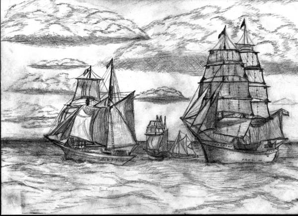 Seascape Poster featuring the drawing Sailing Ships by Rodger Larson