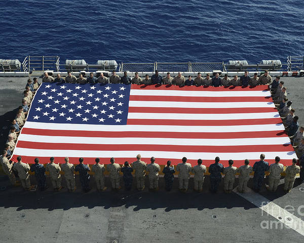 Horizontal Poster featuring the photograph Sailors And Marines Display by Stocktrek Images