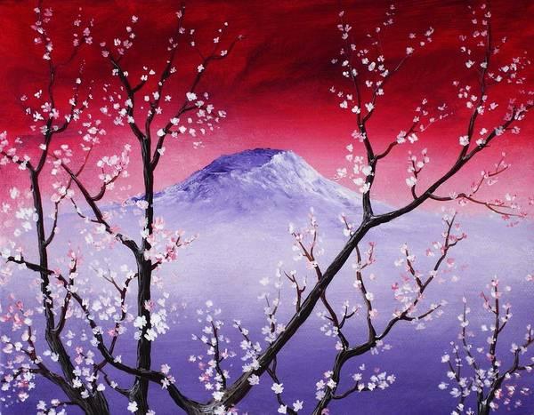Malakhova Poster featuring the painting Sakura by Anastasiya Malakhova