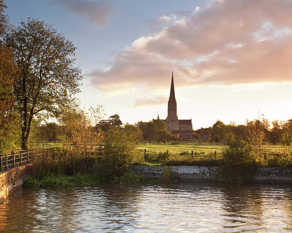 Tranquility Poster featuring the photograph Salisbury Cathedral And The River Avon by Julian Elliott Photography