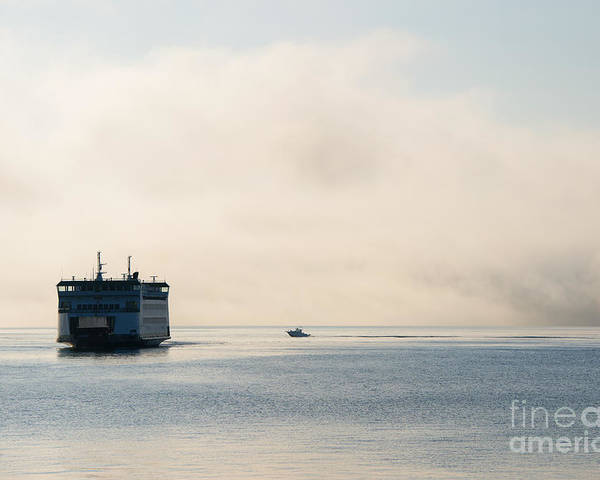 Ferry Poster featuring the photograph Salish Into The Fog by Mike Dawson