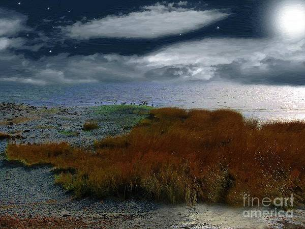 Sea Poster featuring the painting Salt Marsh At The Edge Of The Sea by RC DeWinter