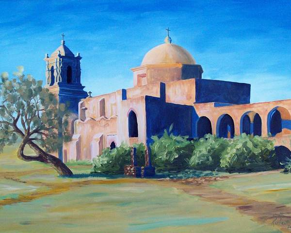 Landscape Poster featuring the painting San Antonio Mission by Scott Alcorn