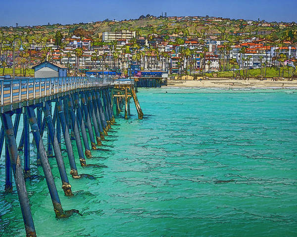 San Clemente Poster featuring the photograph San Clemente Pier by Joan Carroll