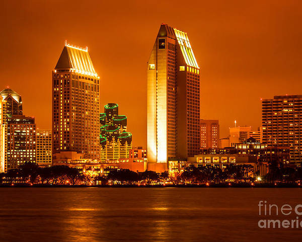 2012 Poster featuring the photograph San Diego Skyline At Night Along San Diego Bay by Paul Velgos