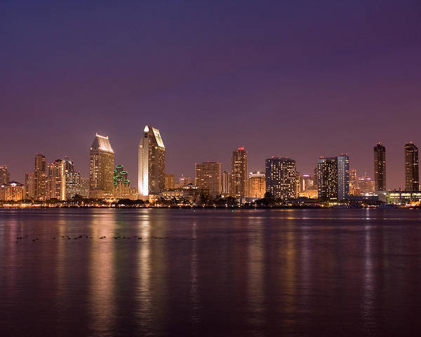 San Diego Poster featuring the photograph San Diego Skyline At Night by Nick Buchanan
