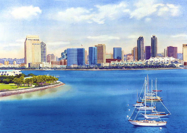 San Diego Poster featuring the painting San Diego Skyline with Meridien by Mary Helmreich