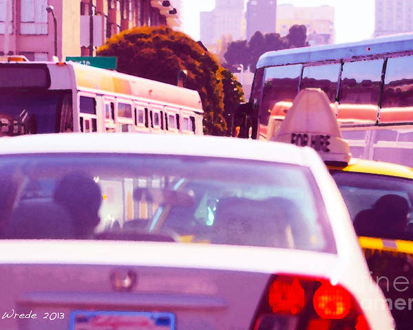 Fuchsia Poster featuring the painting San Francisco Traffic Jam by Artist and Photographer Laura Wrede