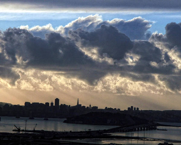 Clouds Poster featuring the photograph San Francisco Under Fogbank At Sunset by Michael Riley
