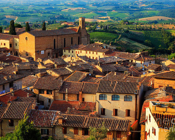 Europe Poster featuring the photograph San Gimignano From Above by Inge Johnsson