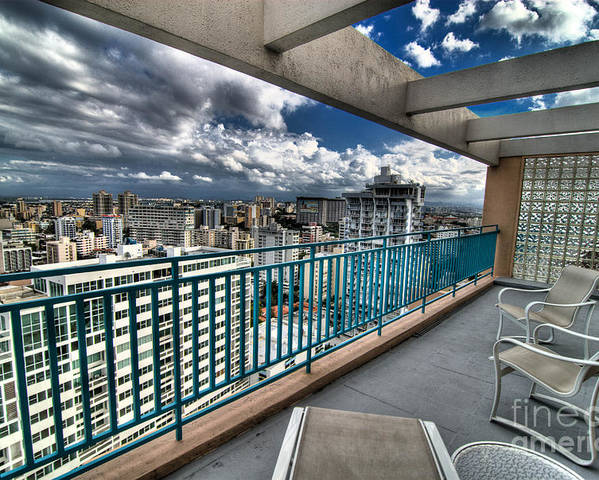 Balcony Poster featuring the photograph San Juan Puerto Rico Hdr Cityscape by Amy Cicconi
